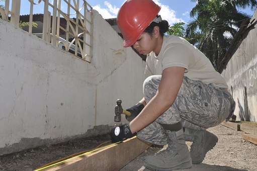 Construction, Worker, Hardhat, Hammer